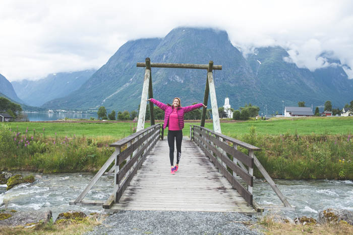 girl on bridge in norway