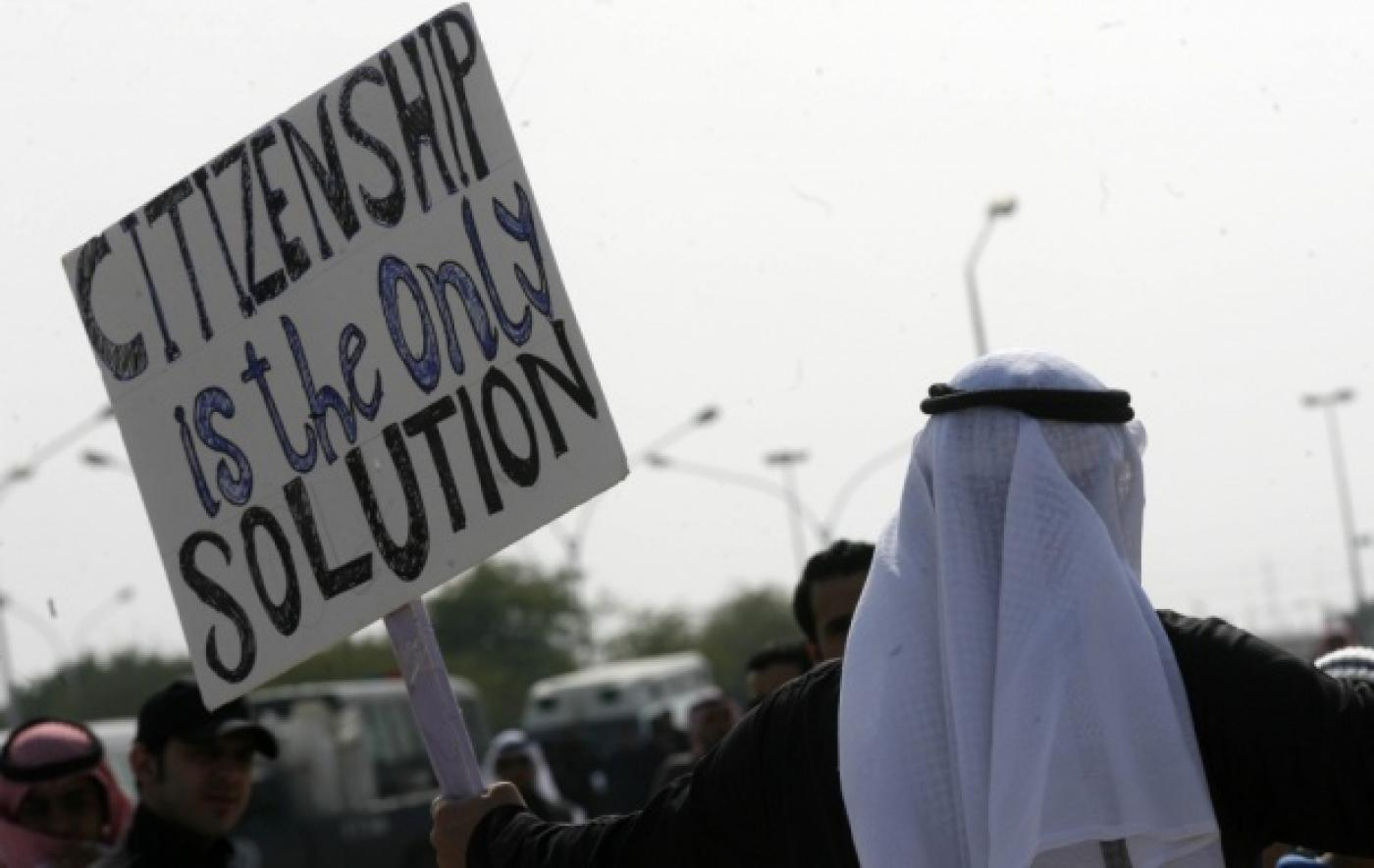 """Man holding sign, saying """"citizenship is the solution""""."""