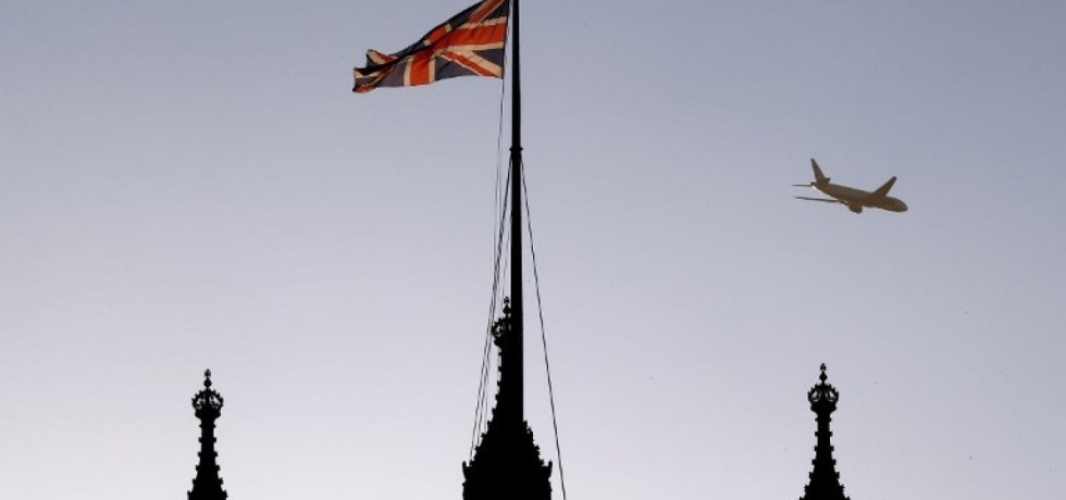 British flag flying on top of spear.