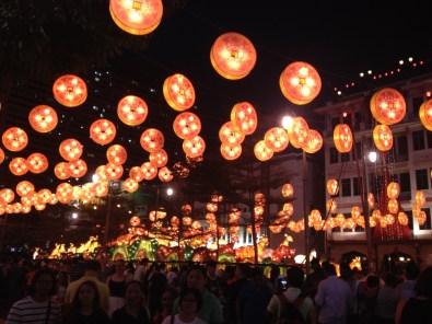 Chinatown lanterns at night