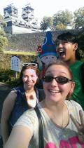 Castle selfies w/ Maegan and Eddy, and the castle's mascot (notice how everything has a mascot here?) (Photo by Meagan)