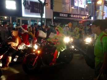 Even the local bikers were in the holiday spirit