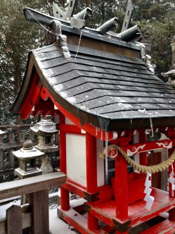 Red shrines are stunning in the snow