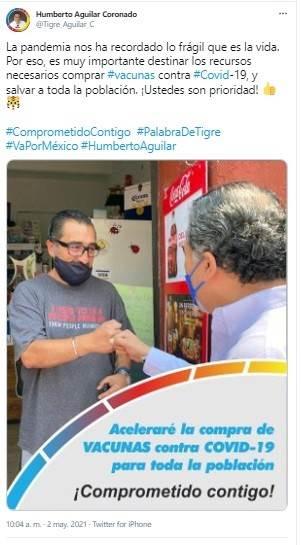 Tuit en el que el candidato Humberto Aguilar habla sobre las vacunas covid.