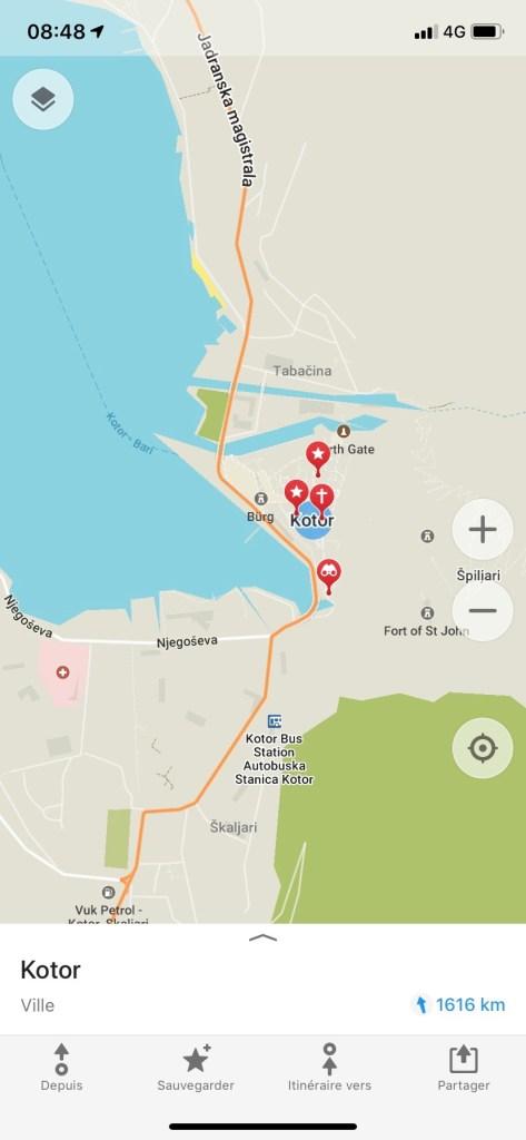 Monténégro - Maps.me