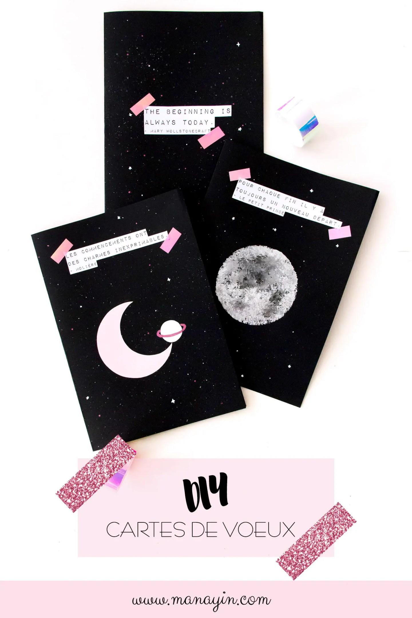 diy : créer ses cartes de voeux pour 2018 - inspiration cosmique