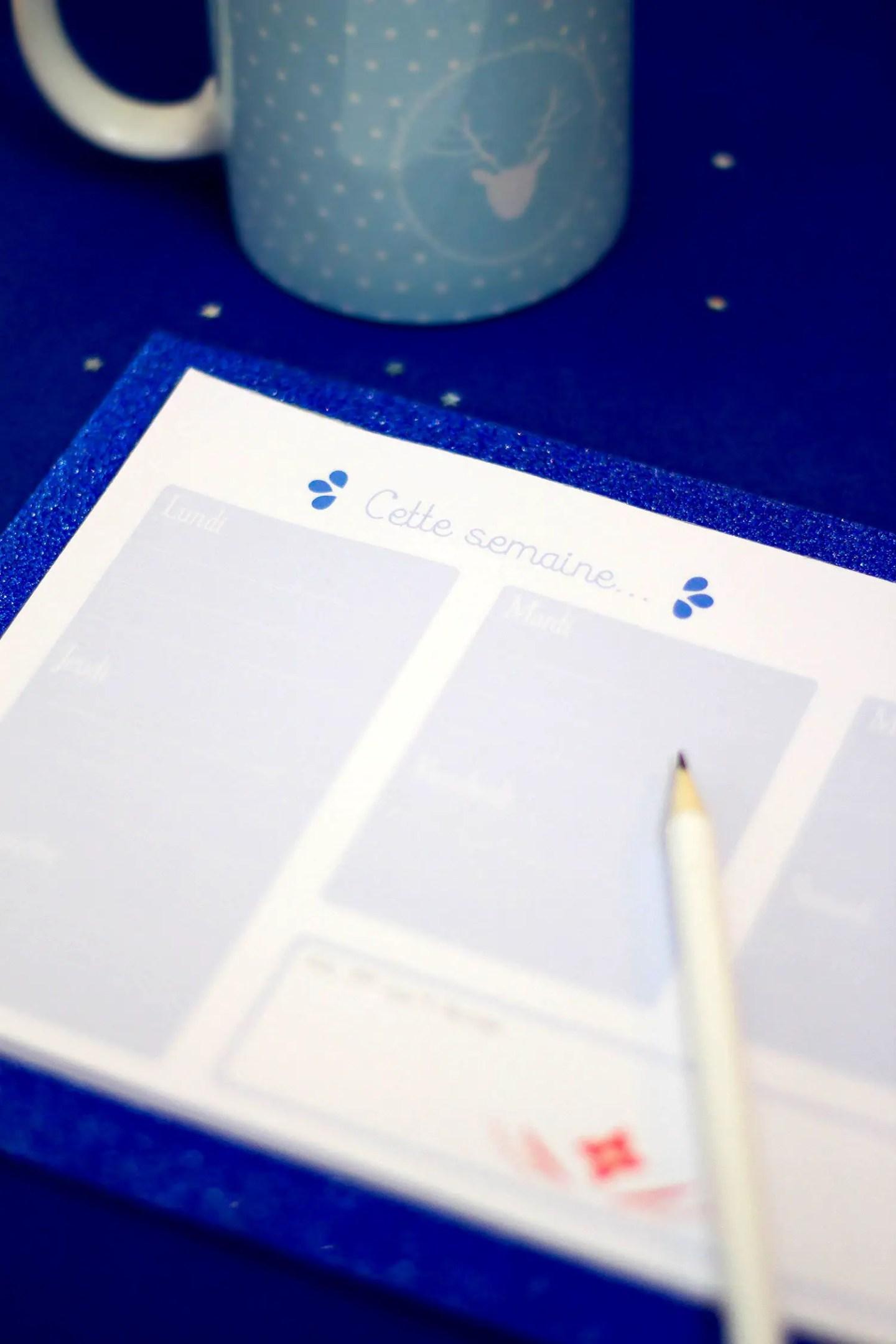Semainier à imprimer - DIY
