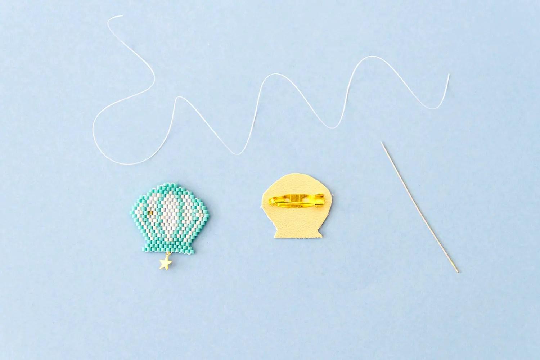 DIY brick-stitch : broche coquillage