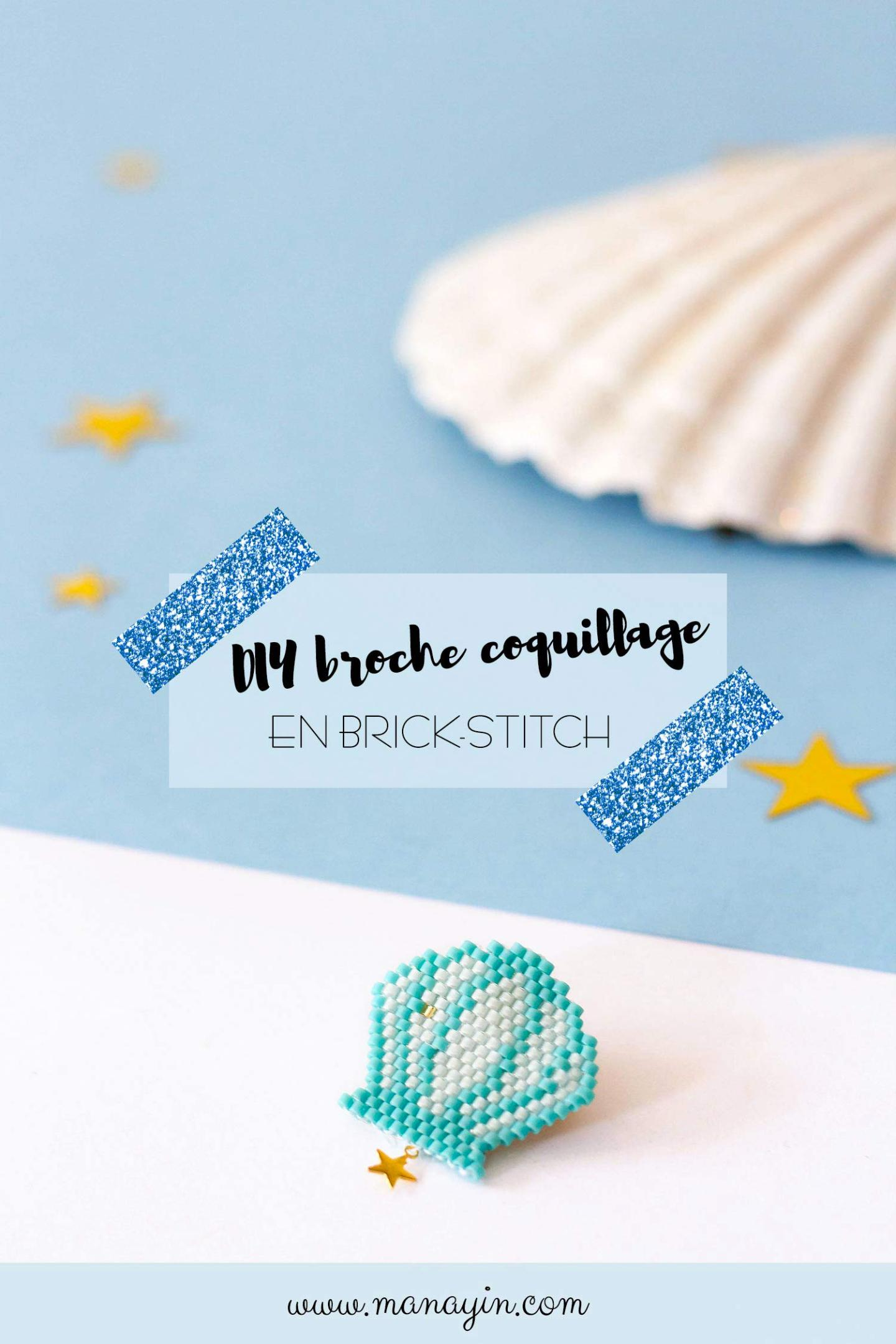 DIY broche coquillage en brick-stitch : modèle Miyuki