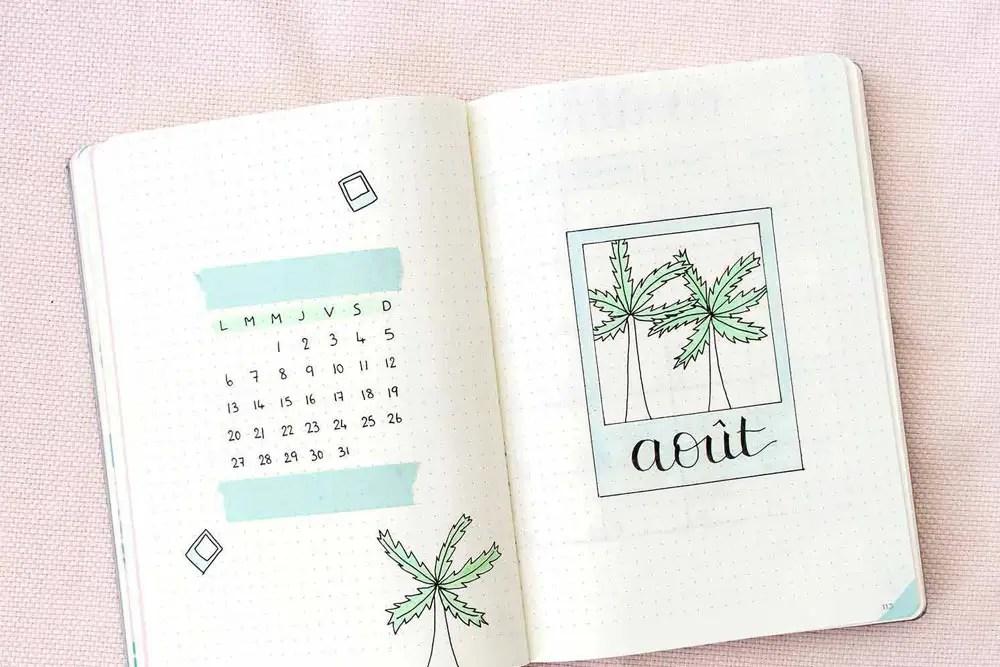 Bullet Journal Août : Une mise en page estivale !