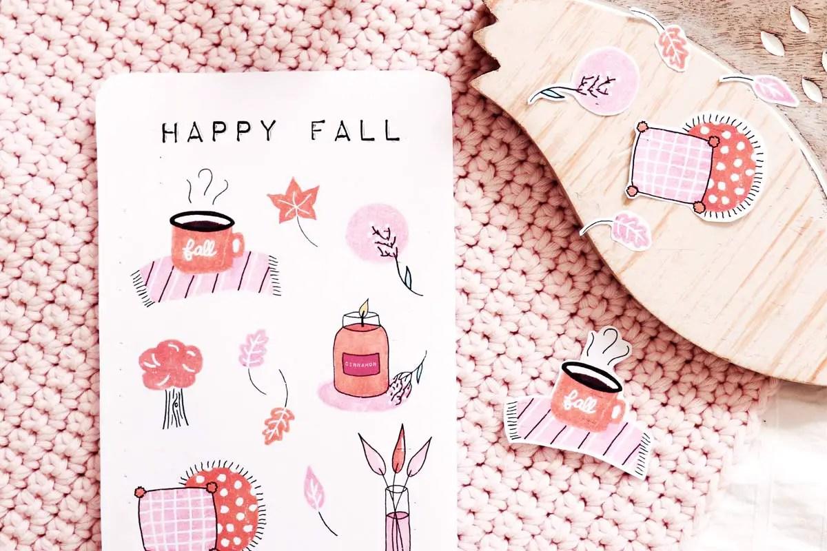Des stickers pour bullet journal à imprimer pour l'automne