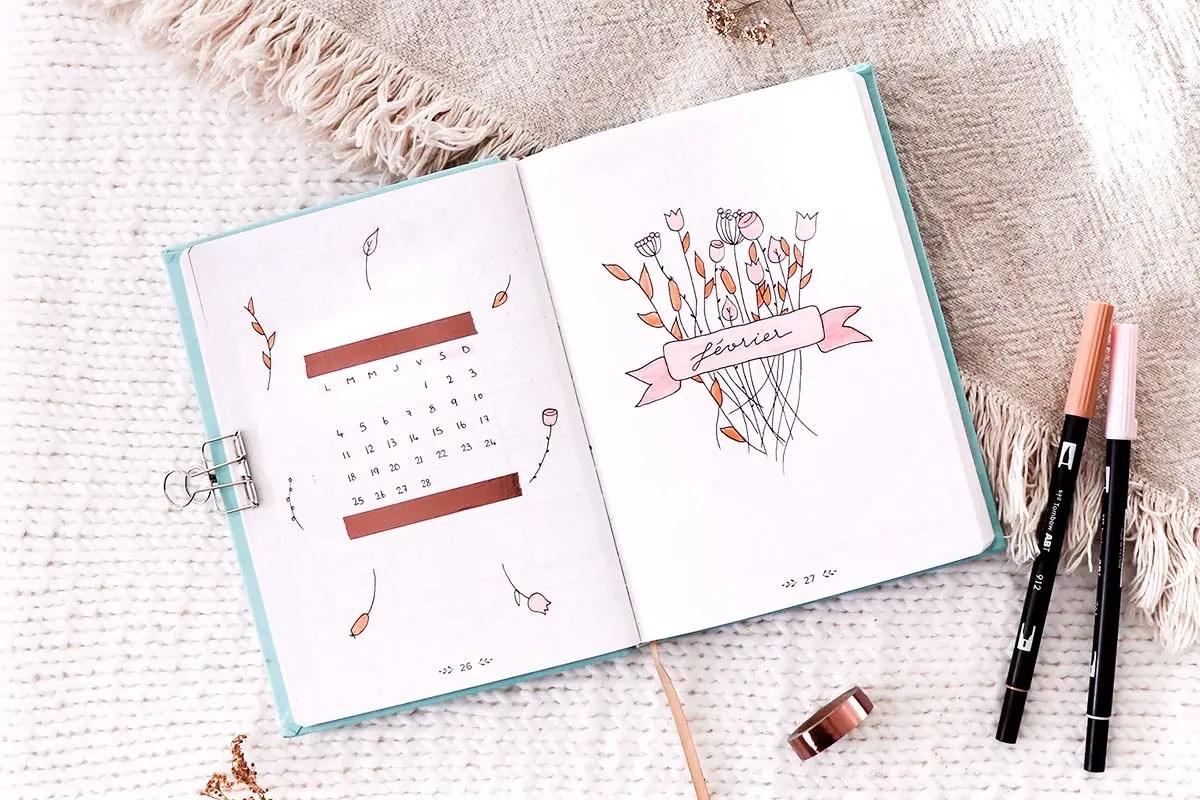 Bullet journal février – idée de mise en page