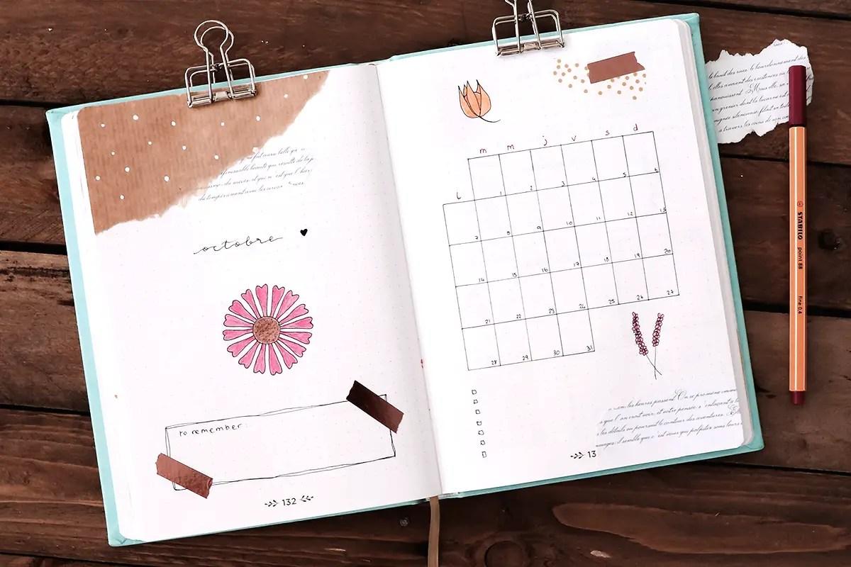 Bullet journal Octobre : une mise en page végétale et automnale
