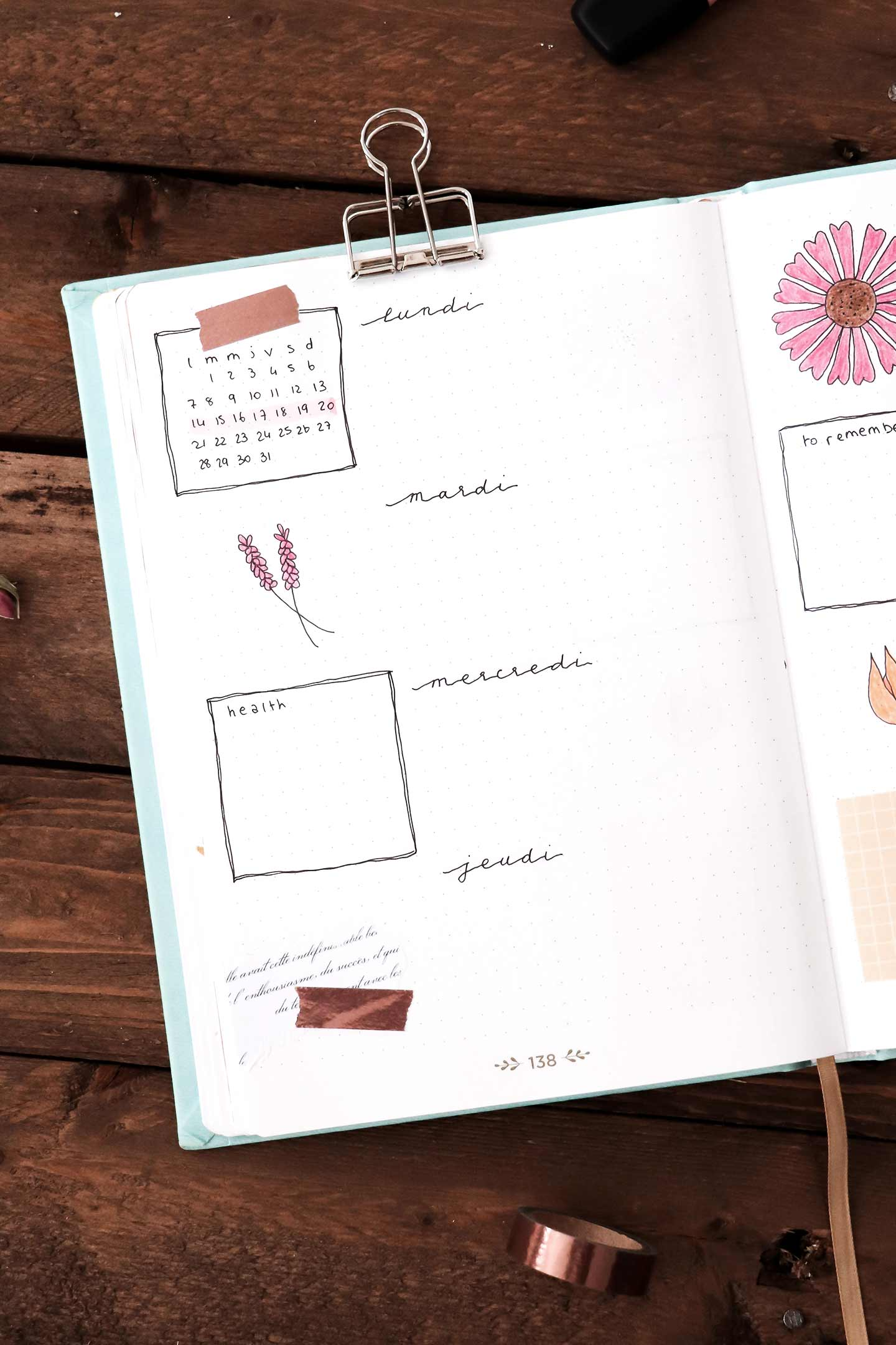 Bullet journal octobre - weekly log