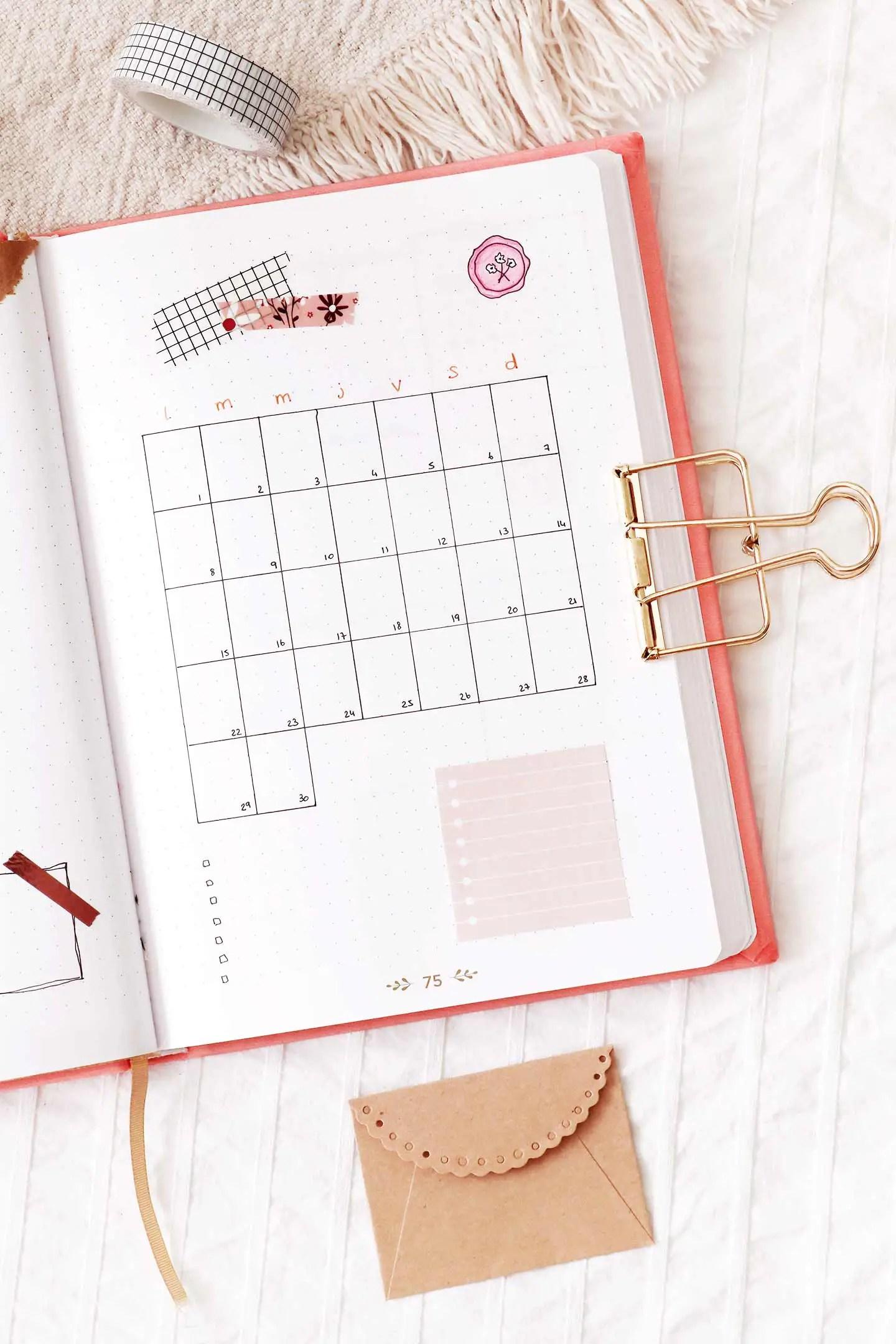 Monthly log Juin bullet journal