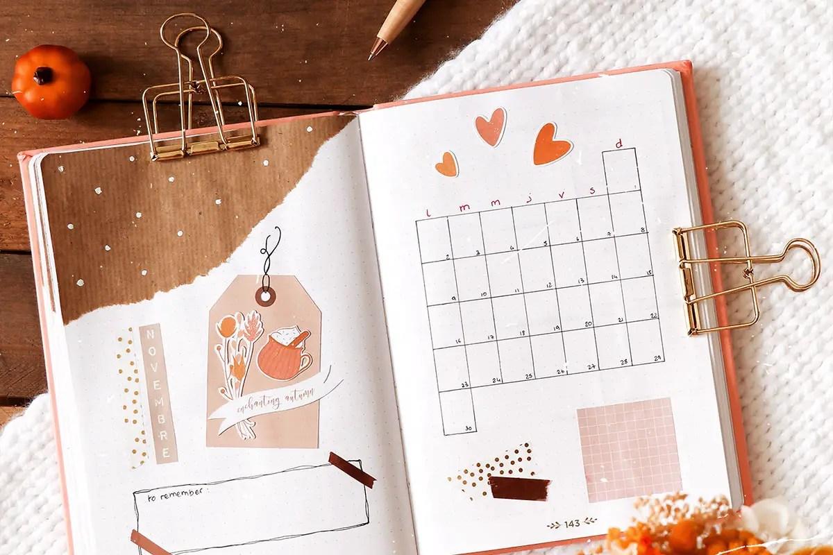 Bullet journal novembre : idées de mises en page + stickers à imprimer