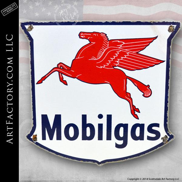 vintage Mobilgas shield sign