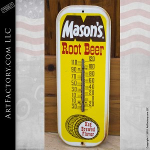 Vintage Masons Root Beer Thermometer Sign