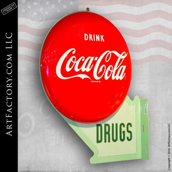 Coca-Cola double button drugstore sign