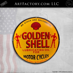 Golden Shell Vintage Motorcycle Lubricating Oil Porcelain Sign