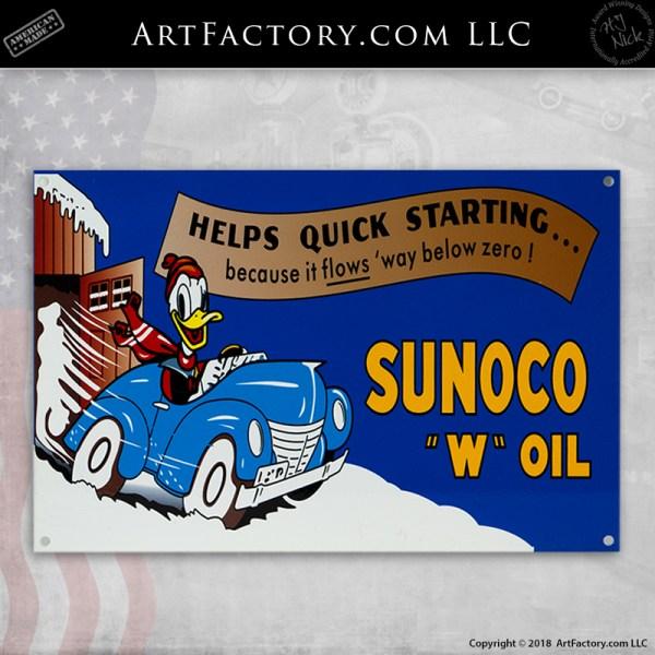 """Donald Duck Sunoco """"W' Oil Sign"""