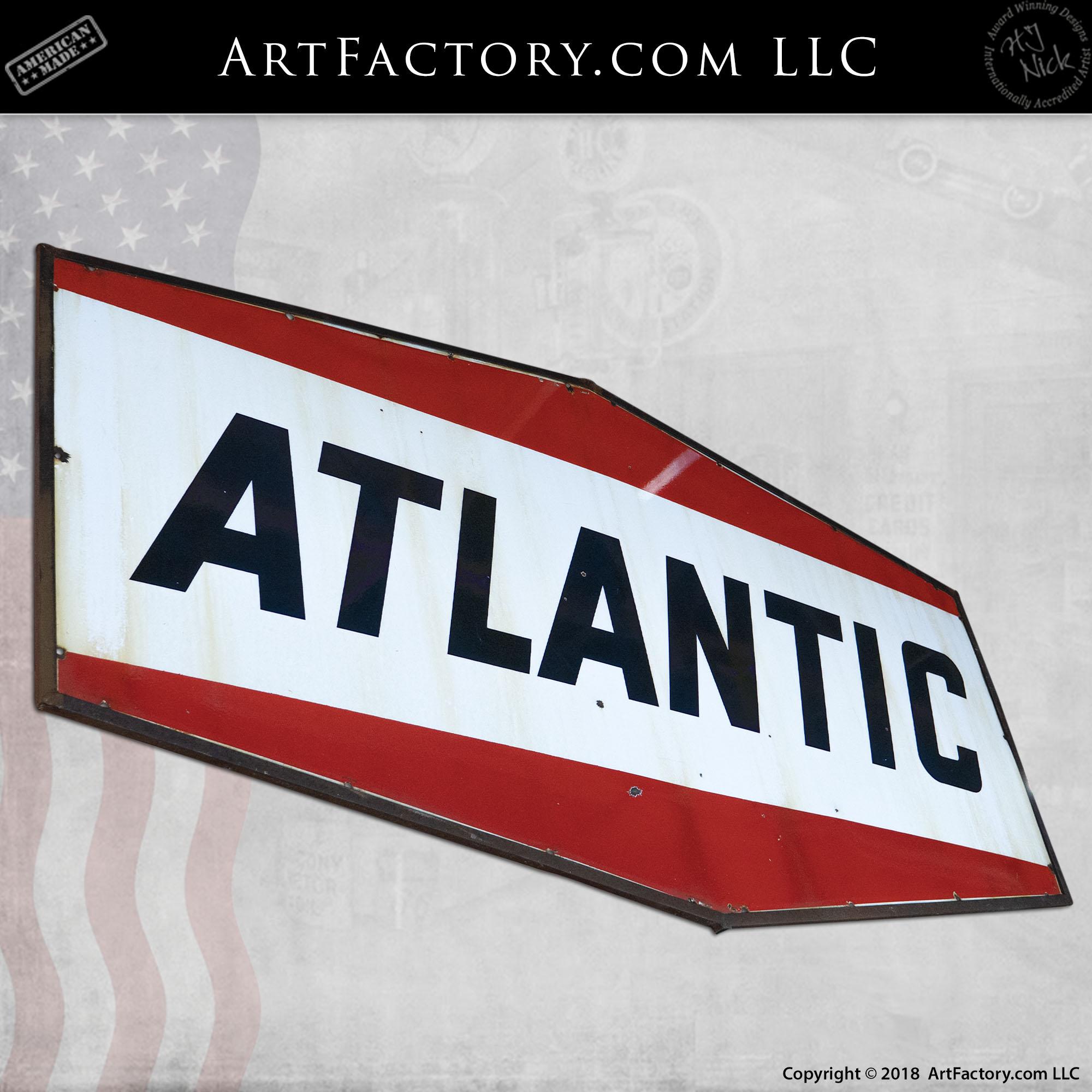 top quality ATLANTIC GASOLINE  porcelain coated 18 GAUGE steel SIGN
