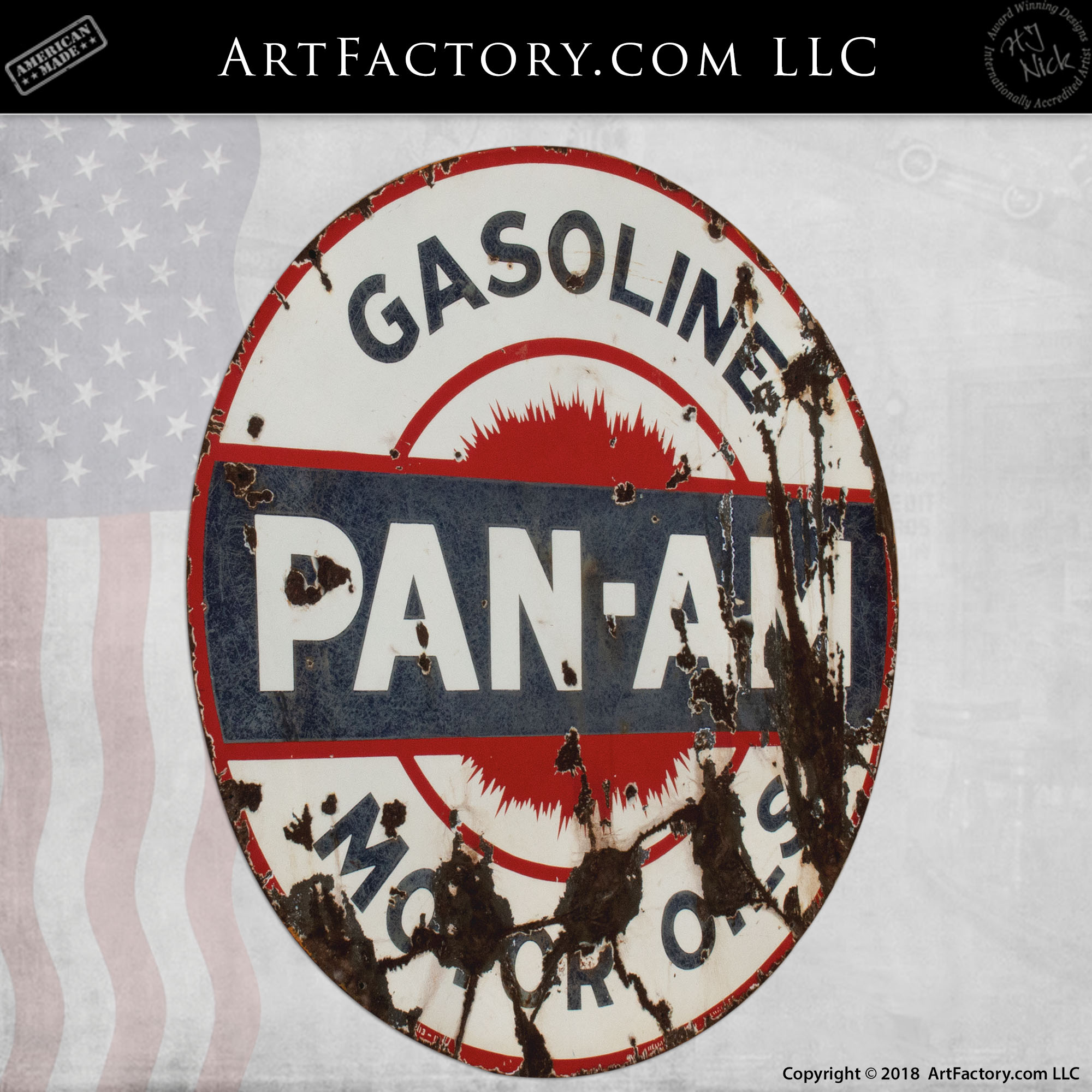 Pan Am Motor Oil and Gas Sign