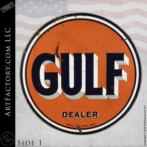 Large Vintage Gulf Gasoline Dealer Sign