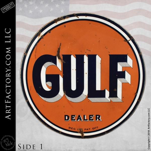 Large Vintage Gulf Gasoline Dealer Sign