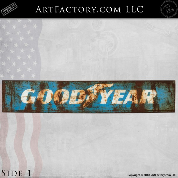 Vintage Blue GoodYear Tires Automotive Sign