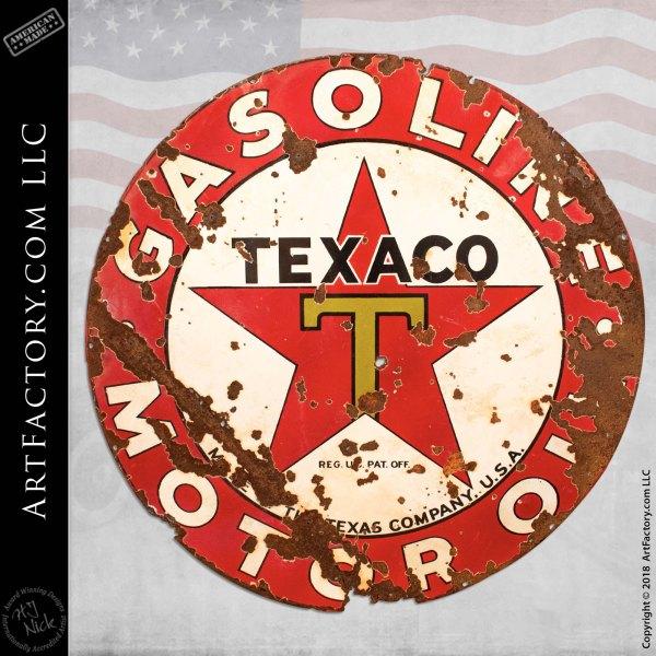 Old Western Vintage Texaco Porcelain Sign