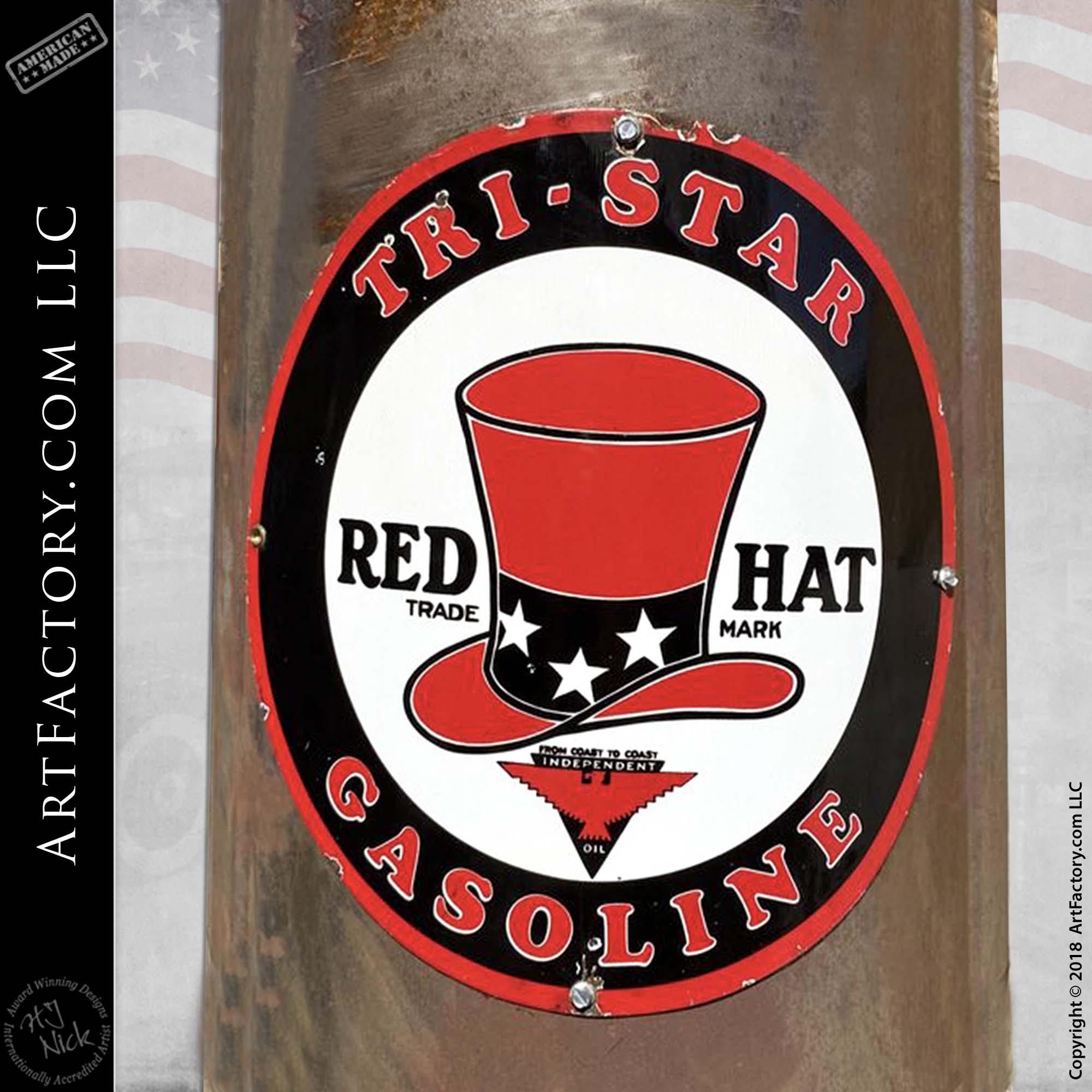 Vintage Butler Model 30 Visible Boneyard Gas Pump - Red Hat