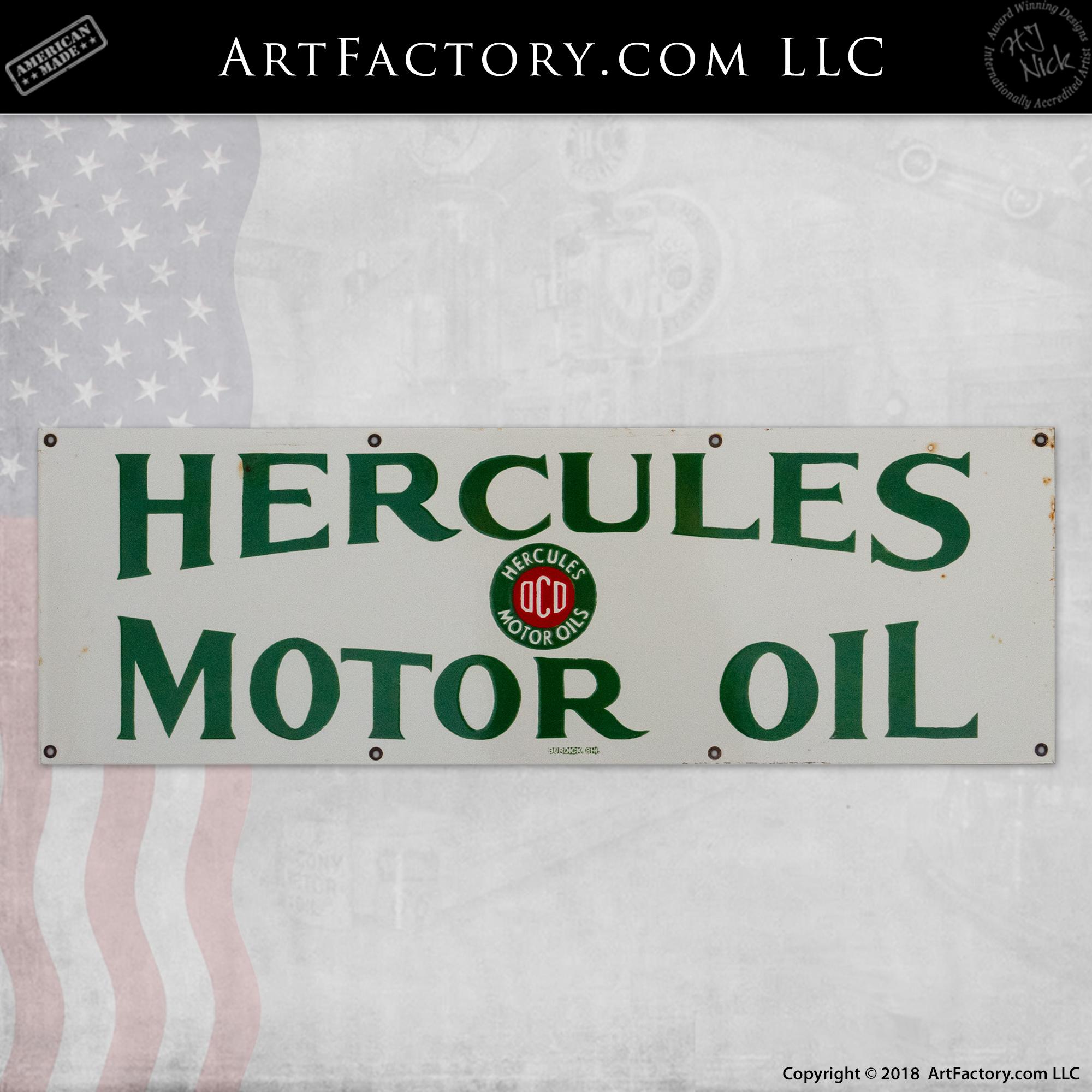 vintage hercules motor oil sign