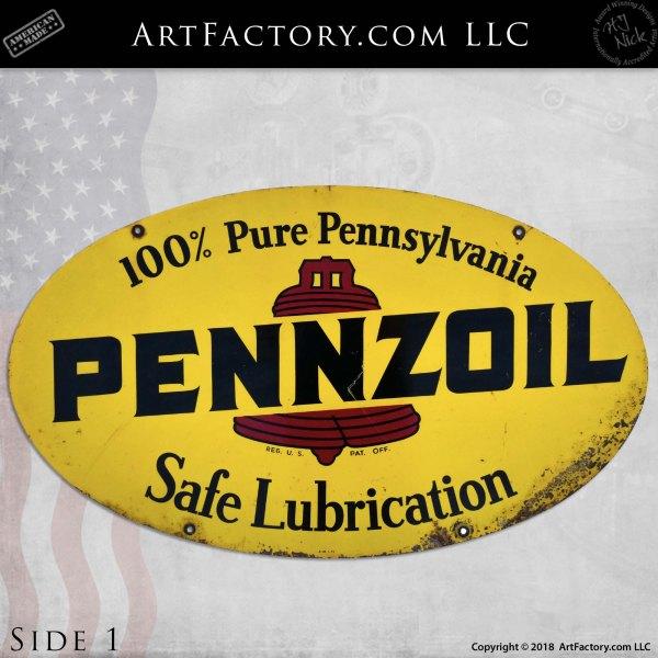 Vintage Pennzoil Safe Lubrication Sign