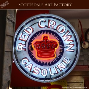 Red Crown Gasoline - double sided porcelain neon sign - RCNS800