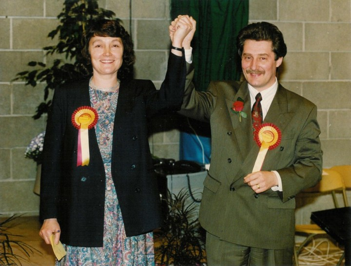 Kath and Tony Lloyd in celebration after his general election win