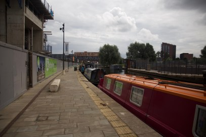 Barges in the New Islington Marina with the Manchester Life development on the left
