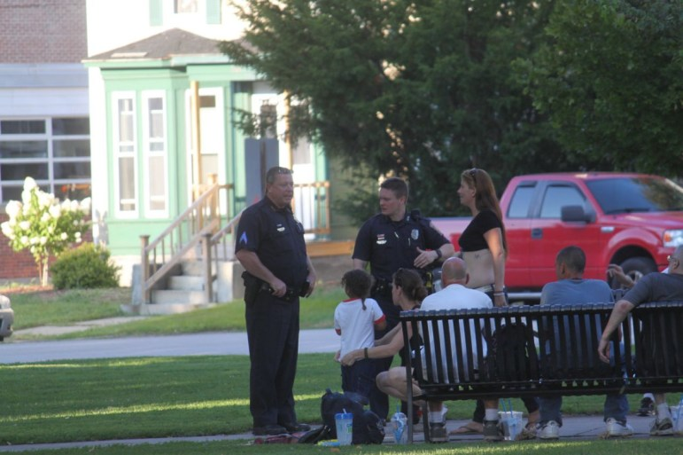 Manchester Police on one of several calls for service at Bronstein Park Aug. 25.