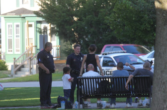 Manchester Police officers investigate a reported fight at Bronstein Park on Aug. 25. No arrests were made.