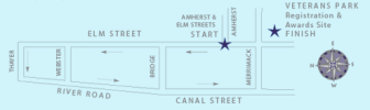 A fast USA Track & Field Certified (NH12006RF) 5K (3.1 mile) loop starting at Amherst and Elm Streets, heading north on Elm, west on Thayer, south on River Road and Canal Street and finishing on Merrimack Street, next to Veterans Park.