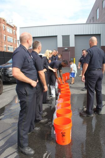 Manchester Police community policing division, ready for the ALS Ice Bucket Challenge.