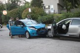 Blue car was involved in a high-speed chase that ended on Kennard Street, when it crashed into another car.