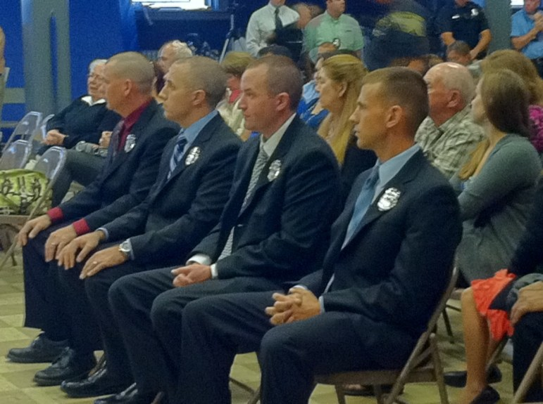 File photo: New MPD officers sworn in at the PAL community center.
