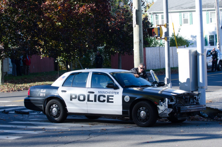 Manchester Police cruiser involved in a crash on Webster Street.