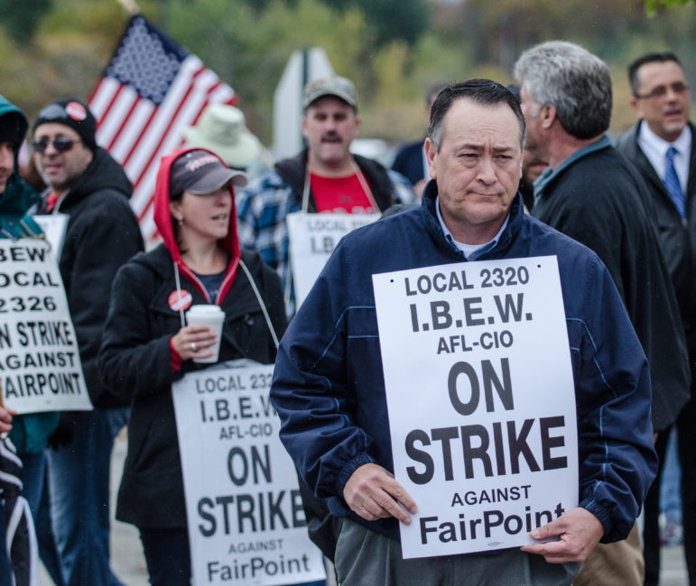 NH FairPoint workers on strike.