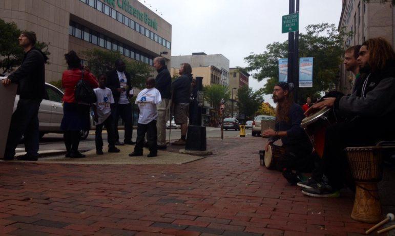 Anti-war.com protest on Elm Street, Oct. 4, 2014.
