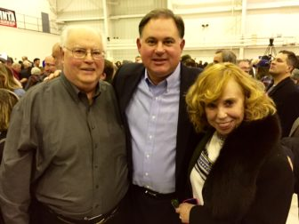 Frank Guinta, center, with his parents, Richard and Virginia Guinta at Sunday's GOP rally in Manchester.
