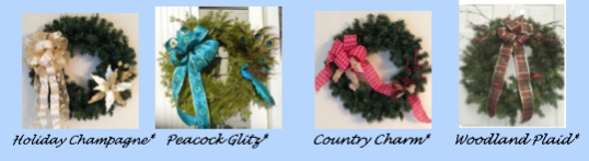 Fully decorated wreaths in four styles.