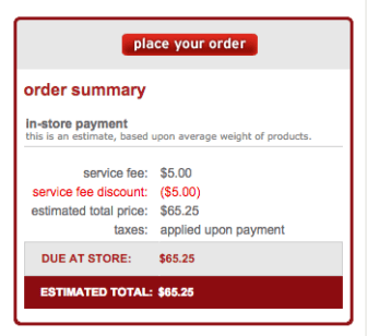 My original online receipt.