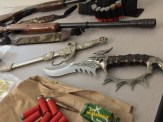 Weapons confiscated in the drug raid.